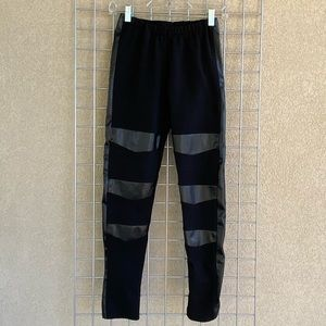 Faux Leather Detail Pull On Jogger Active Pants